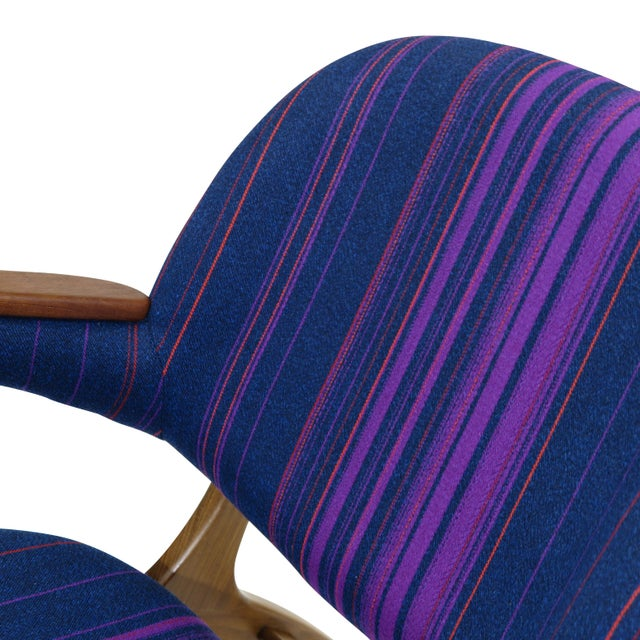Fabric Carl Edward Matthes Danish Teak Lounge Chairs - a Pair For Sale - Image 7 of 10