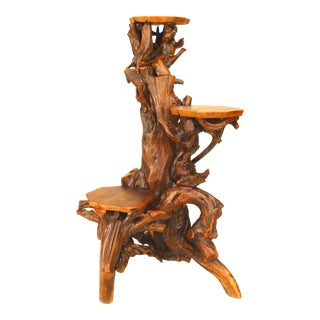 Rustic Adirondack Root Pedestal For Sale
