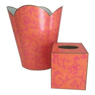 Marye-Kelley Handcrafted Wastebasket and Tissue Cover - 2 Pieces For Sale
