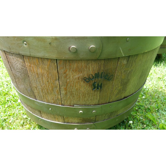 Whiskey Barrel Naugahyde Swivel Chair For Sale - Image 4 of 4