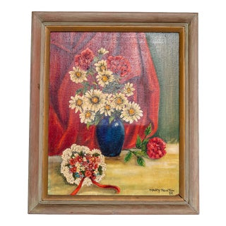 Vintage Daisy Framed Oil Painting For Sale