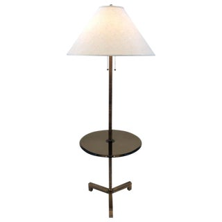 Mid Century Charles Hollis Jones Brass and Bronze Glass Floor Lamp For Sale