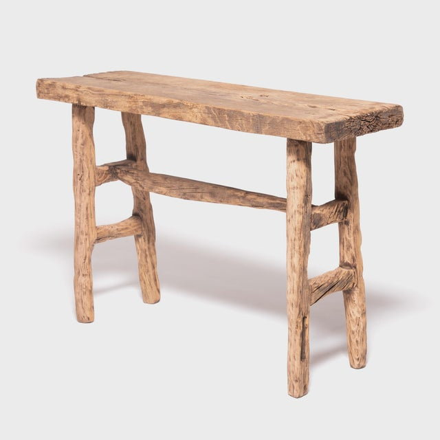 Asian Reclaimed Chinese Elm Courtyard Console Table For Sale - Image 3 of 7