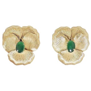 1960s Napier Faux-Jade Rhinestone Pansy Earrings For Sale
