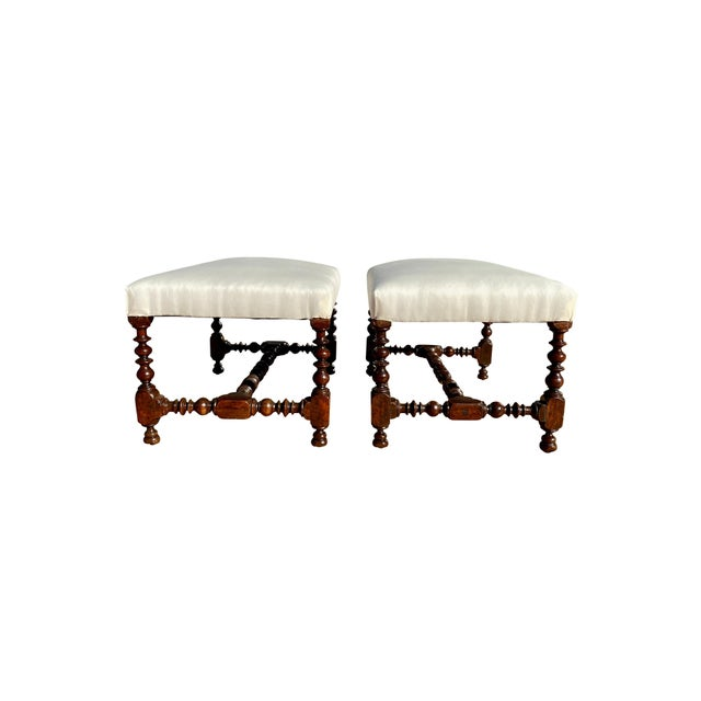 Baroque Flemish Baroque Walnut Benches - a Pair For Sale - Image 3 of 8