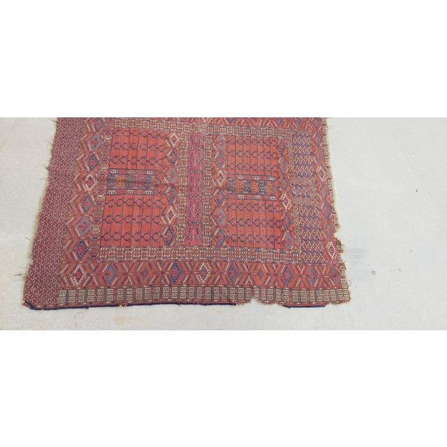 "Vintage Turkoman Tekke Rug-3'11'x5"" For Sale - Image 11 of 12"