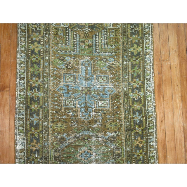 Persian Shabby Chic Heriz Runner - 2'9'' x 10'8'' For Sale - Image 4 of 6