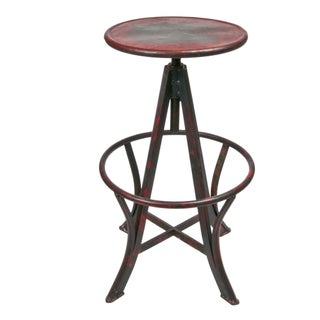 Vintage Inspired Adjustable Metal Stool in Red