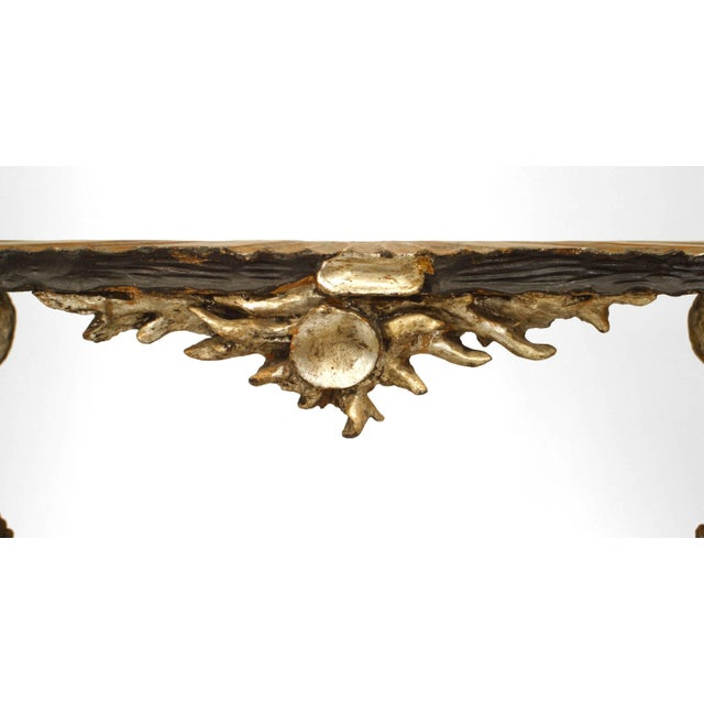 Italian Venetian Grotto style (19th century) silver gilt and polychromed console table with carved sea shell form top and...
