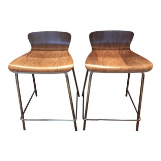 Crate and Barrel Felix Walnut Counter Stools - a Pair