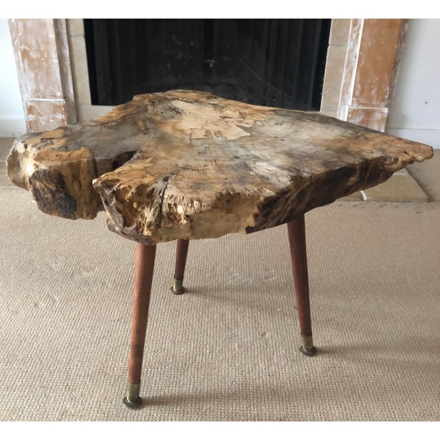 George Nakashima Live Edge Coffee Table Burl Wood Mid Century Style For Sale - Image 4 of 11
