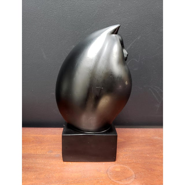 Art Deco Black Persian Cat Sculpture by Richard H. Recchia Official Repro From Boston Mfa For Sale - Image 3 of 8