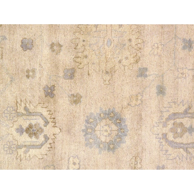 "Anglo-Indian Indian Oushak Hand-Knotted Rug - 8'9"" X 10'6"" For Sale - Image 3 of 5"