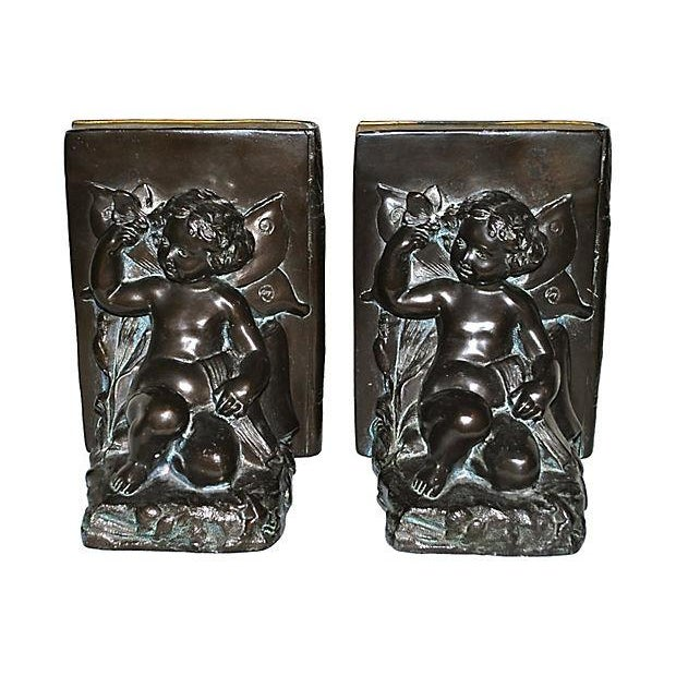 1920s Ronson Cherub and Butterfly Bookends - Pair For Sale