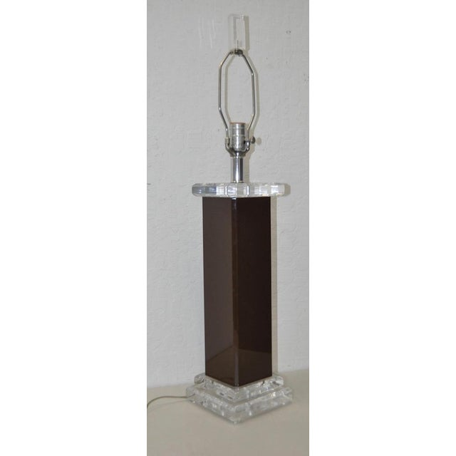 Vintage Brown Lucite Table Lamp - Image 2 of 6