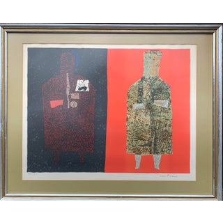 Original Abstract Figural Lithograph by French Artist Max Papart For Sale