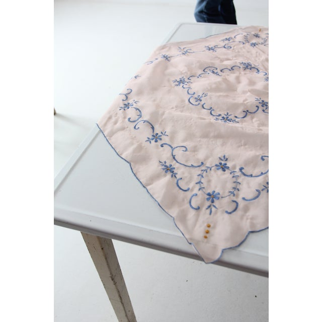Mid 20th Century Vintage Pink Table Cloth With Embroidery For Sale - Image 6 of 7