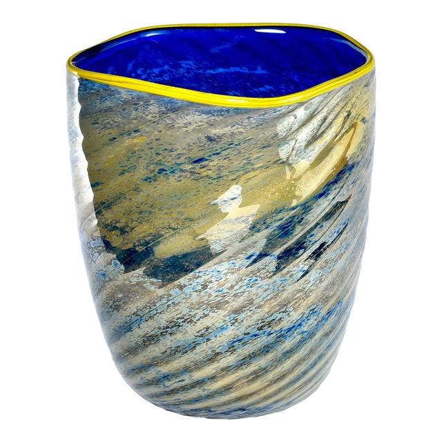 Large Cobalt Blue and Yellow Art Glass Vase For Sale