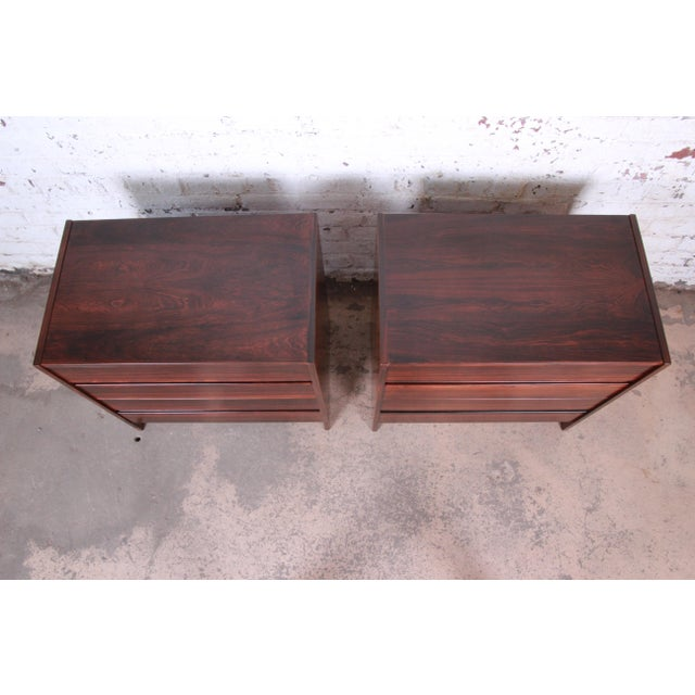Wood Danish Modern Rosewood Bachelor Chests or Large Nightstands, Newly Restored For Sale - Image 7 of 13