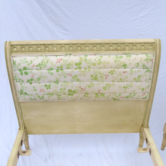 French Pair Louis XVI Style Twin Beds Upholstered Headboard Antique Painted Solid Wood For Sale - Image 3 of 13