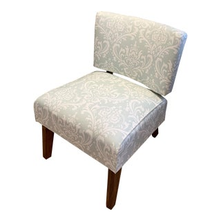 Mid-Century Modern Damask Slipper Chair For Sale