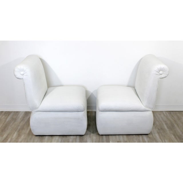 White Contemporary Modern White Leather Accent Slipper Side Chairs, 1980s - a Pair For Sale - Image 8 of 10