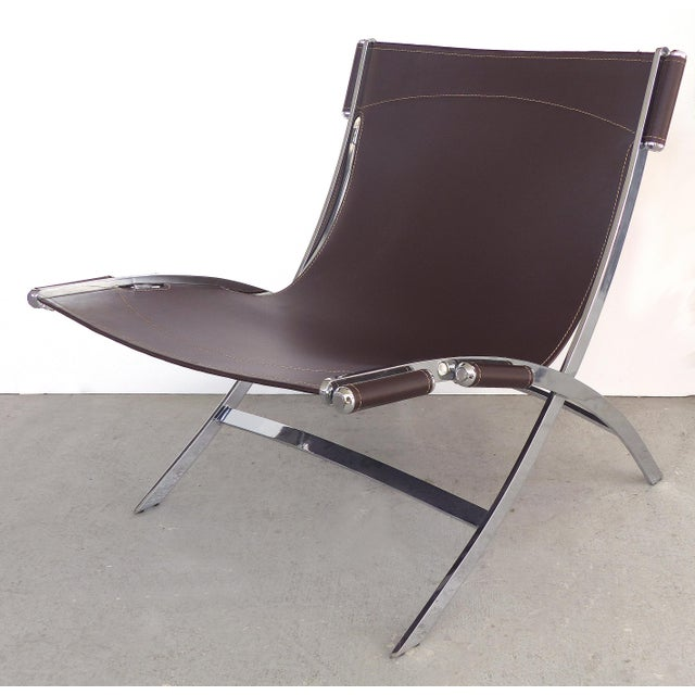1970s Paul Tuttle, Antonio Citterio for Flexform Italia Scissor Chairs in Stainless Steel & Leather-A Pair For Sale - Image 5 of 13