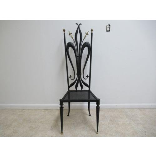 Vintage Hollywood Regency Bronze Accent Metal Tall Back Throne Desk Side Chair For Sale - Image 10 of 10