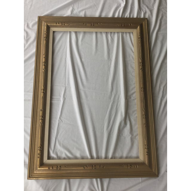 Large Mid-Century Gold Carved Gold Wood Frame - Image 3 of 11