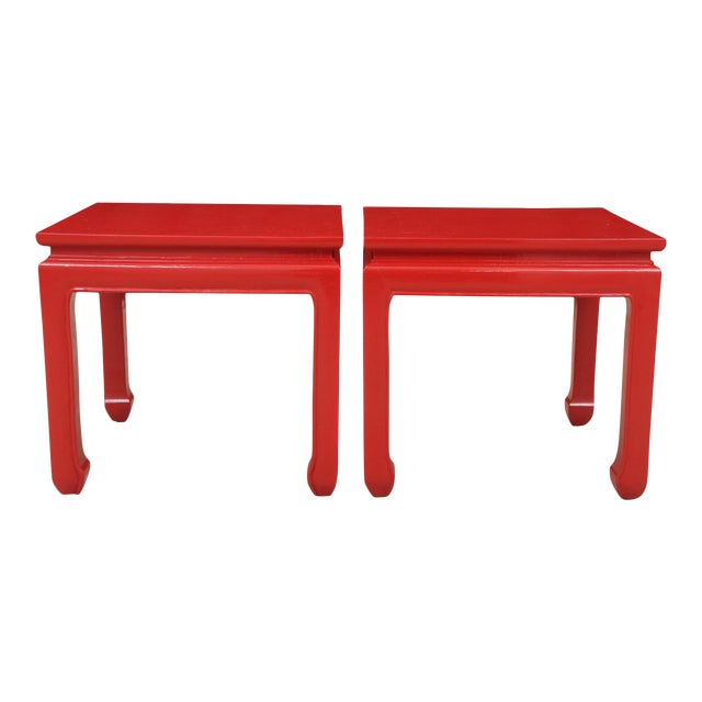 Ming Style Red End Tables - a Pair For Sale