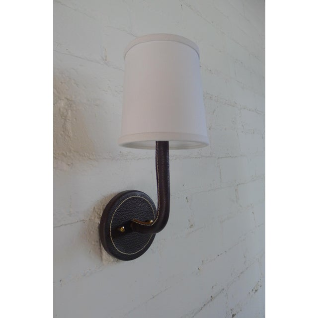 Metal Paul Marra Top-Stitched Leather Wrapped Sconce in Brown For Sale - Image 7 of 7