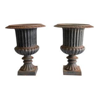 Vintage Cast Iron Pedestal Urns - a Pair For Sale