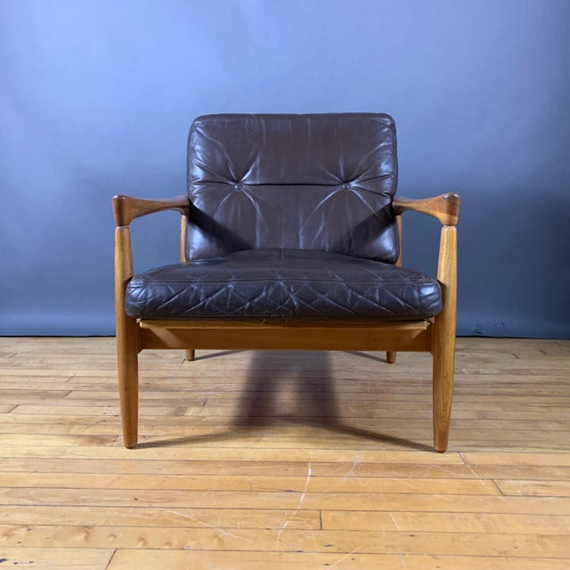Pair Erik Wørts Solid Oak & Leather Lounge Chairs, Sweden 1960s For Sale - Image 10 of 12