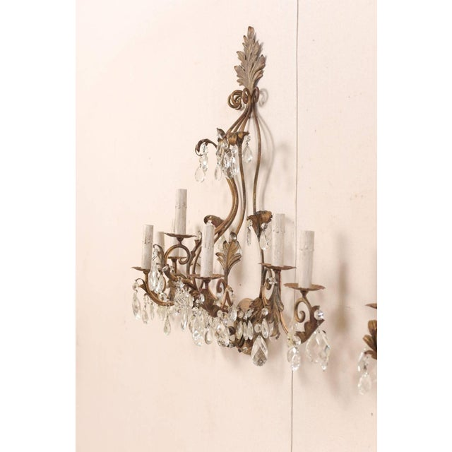 Metal Pair of Mid-Century Seven-Light Crystal and Iron Sconces With Leaf Crest Tops For Sale - Image 7 of 11