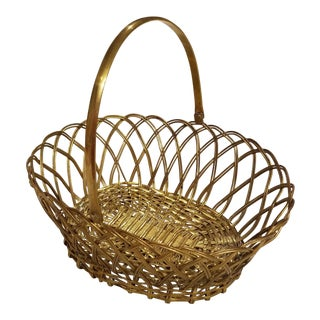 Vintage Mid-Century Woven Brass Basket For Sale