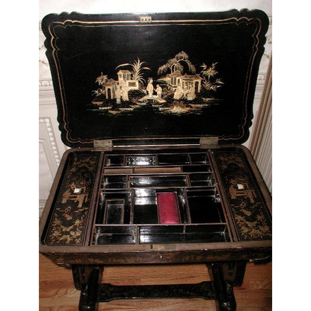 Antique English 1850s Chinoiserie Sewing Chest - Image 10 of 11