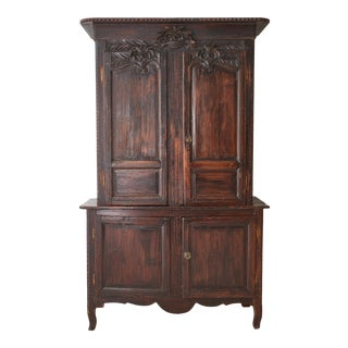 19th C. French Provincial Oak Deux Corps Cabinet For Sale