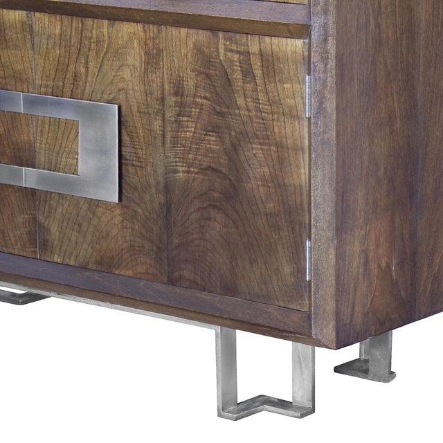 1970s Dry Bar by Jordi Vilanova, Six Doors, Walnut, Lacquer, Brass, Barcelona For Sale - Image 11 of 12