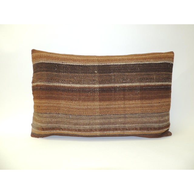 1960s Brown Woven Turkish Stripe Decorative Bolster Pillow For Sale - Image 5 of 5