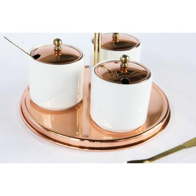 Vintage Ceramic & Brass Condiment Server Set - Image 3 of 4