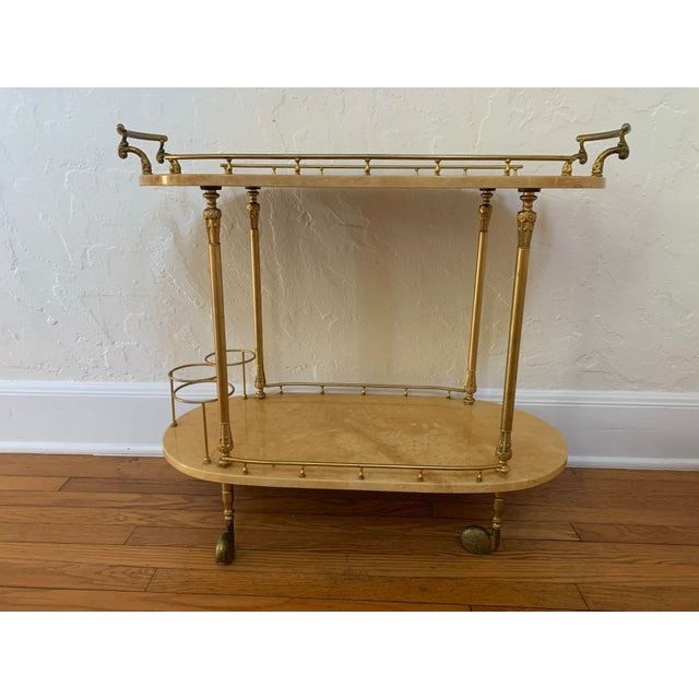 Aldo Tura Parchment and Brass Bar Cart For Sale - Image 13 of 13