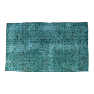 Deep Cyan Overdyed Turkish Hand Knotted Rich Color Area Rug - 3′8″ X 6′4″ For Sale
