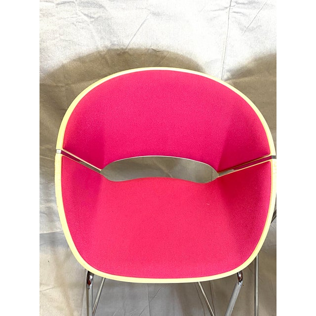 Set of 4 Heavy Duty Chic Pink Fabric Bar Counter Stools Wood Back For Sale - Image 4 of 9