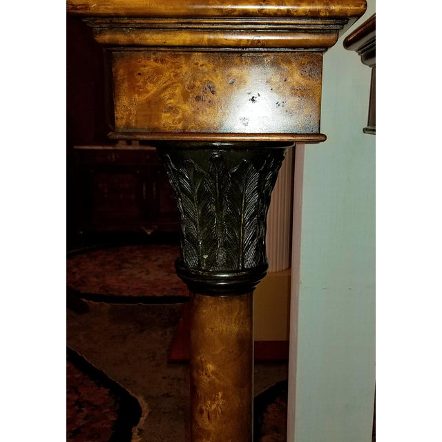 Biedermeier Theodore Alexander Biedermeier Burl Yewood and Bronze Mounted Pillars - a Pair For Sale - Image 3 of 13