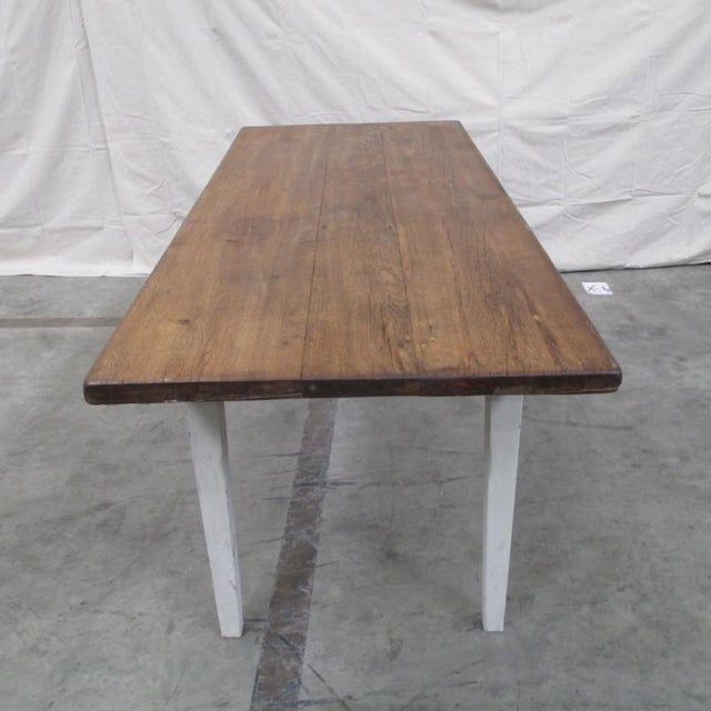 Cottage Antique Danish Rustic Painted Dining Table For Sale - Image 3 of 9