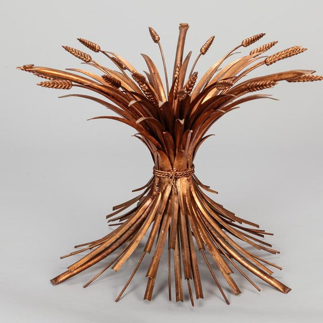 Gold Mid Century Gilded Metal Wheat Sheaf Table For Sale - Image 8 of 9
