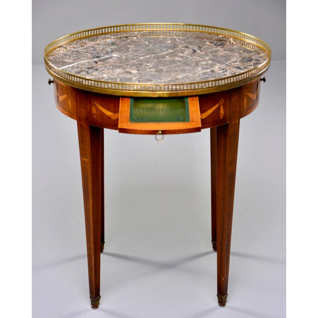 Metal French Oak Marble Top Gueridon With Marquetry and Brass Gallery For Sale - Image 7 of 13