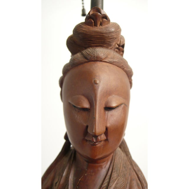 Brass Hand-carved Teak Asian Lamp For Sale - Image 7 of 9