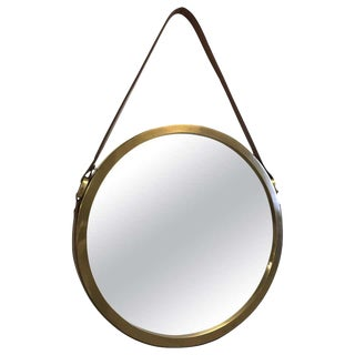 Brass and Leather Strap Mirror Style of Jacques Adnet For Sale