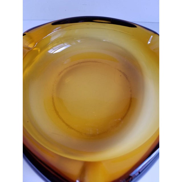 Mid-Century Triangular Amber Glass Ashtray For Sale In Washington DC - Image 6 of 9